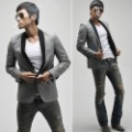 free shipping blazer men's suit leisure  Gray suits black collars Casual suit jacket Men's Slim Coats cheap wholesale