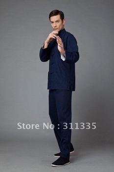 Free shipping Chinese style Bruce Li Kung fu uniform, 45% flax+55%cotton kung fu suit