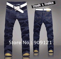 New Fashion  Jeans Men's Jeans Printing & Flanging Process England Style Jeans High Quality Straight Jeans
