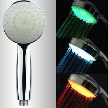 Free shipping New LED Temperature Control Romantic 3 Colors Light Bathroom Shower Head High quality
