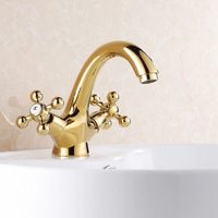 gold color brass basin faucet washbasin hot and cold tap bathroom double handle mixer high quality  free shipping 848