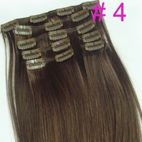 Free EMS shipping hot sell on ebay  28 inch 120g clip in on real human hair extensions #4 medium brown