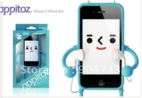 30pcs/lot Hot Sales 3D Android Appitoz Silicone Soft  Case for iPhone 4 4S,Free Shipping