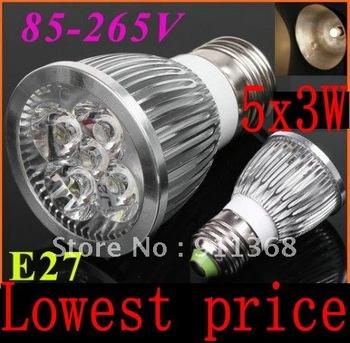 Wholesale - Best E27 15W LED Bulb Power Spot Light Warm/cool White 85-265V Energy Saving110/220V led light Lamp