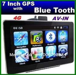 Best sales 128 RAM 7 inch GPS Navigation+Bluetooth+AV-IN+FM +MP3 MP4+4GB memory, Free shipping!(China (Mainland))