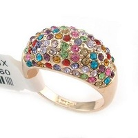 New Wholesale Hot Fashion Jewelry Genuine multicolor SwarovskiCrystal woman's ring Diamand Rings size:6,7,8,9,10,11,12