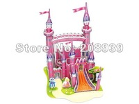 Free shipping Stereo Handmade 3D Puzzle DIY Paper Model 3D Theater Jigsaw Puzzle The Pink Fortress
