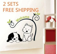 2 SETS 50*70CM Removable DOG WELCOME YOU WALL DECOR DECAL VINVY Wall Sticker HL-5892