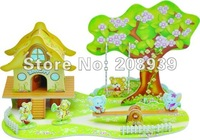 Free shipping Stereo Handmade 3D Puzzle DIY Paper Model 3D Theater Jigsaw Puzzle The Cartoom Paradise