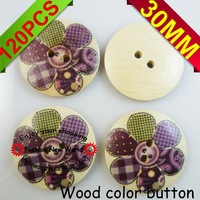 button 30MM 120PCS5colors 6pattern  flowers designs wooden color sewing button cloth findings MCB-263