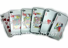 silver Poker hard case back cover for iphone 4 4G(China (Mainland))