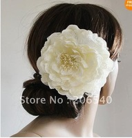 Free shipping  brand new  hot selling White Rose Hair Flower Clip Bridal Wedding Prom Party