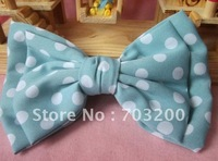 free shipping!silk fabric double deck dot bowknot hairgrips,15*10CM size hairpin,fashion headwear,fashion barrette