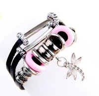 Jewelry supplier Bohemian silver beads  handmade cheap charms for bracelets  leather wristband