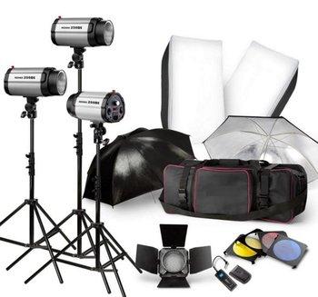 Free Shipping 540W Pro STUDIO LIGHTING FLASH STROBE KIT PHOTOGRAPHY LIGHT 3X180W +TRIGGER +Barn Door +SOFTBOX +UMBRELLA +BAG