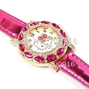 Free Shipping fashion Hello Kitty Quartz Watch Children Girl Women Leather Crystal Watch GRQ605(China (Mainland))
