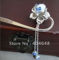blue and white porcelain Bead Tassel Kanzashi hairpin headdress hairpin bookmark costume cheongsams manual step shake