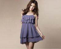 New Womens Fashion Thin Shoulder Lotus Leaf Small Dress Pink/Blue E2823