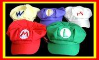 Free Shipping 5pcs/lot Super Mario Bros Anime Cosplay Hat,red and white Mario,green Luigi ,yellow Wario,Purple Waluigi Cap