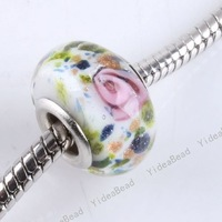 Wholesale - 40 New Glazed Glass Lampwork Charms Beads Handcraft Flower Murano European Bead Fit Bracelet 151216