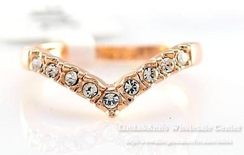 Free Shiping,18K Glod Plated,Heart Shape  Zircon Diamond Studded Classic Finger Ring,CR-5