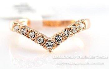 Free Shiping,18K Glod Plated,Heart Shape  Zircon Diamond Studded Classic Finger Ring,CR-5