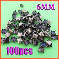 Free shiping,1000pcs/lot,6mm,Silver bronzy Pyramid Studs Spots Punk Rock Biker DIY Spikes Bag Shoes Bracelet Clothes