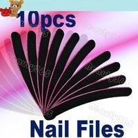 Free Shipping 10 pcs Professional Nail Files Buffer Buffing Slim Crescent Grit Sandpaper 952