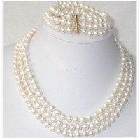 Hot Fashion Jewellery set Beautiful 3Rows 7-8mm white Akoya Pearl Necklace Bracelet Set free shipping