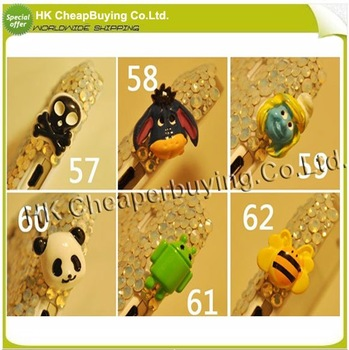 Wholesale Free Shipping 50pcs/lot Cute Cartoon Dustproof Plugs For iPhone 4S, Dust Ear Cap Plug,#SKU0380