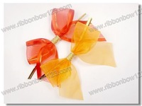 Sheer gift wrapping bows with a wire