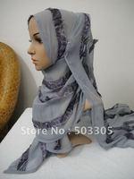 MS12022308 free shipping printed agaric silk rectangular scarf,muslim scarf,islamic scarf,muslim hijab,islamic hijab,inner caps