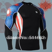 Free shipping polyester+ spandex FIXGEAR Compression base layer training performance skin tight shirt C2L-B37
