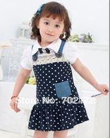 dark bule dot lovely suspender dress girl baby dress