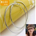 Free Shipping  Wholesale 60MM  Joker Style Big Hoop Earrings women Silver Hoop Earring Fashion Jewelry 30Pairs/Lot