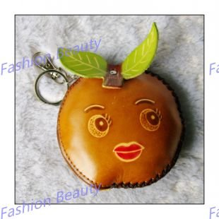 Genuine Leather Coin Purse,  Pouch Wallet, Accessory, Hand crafted,key ring, Kids Orange Face,free shipping