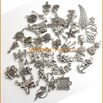 Hot Sale 100pcs Mixed Alloy Pandent Plated Silver Charms Pendants Fit Jewelry Accessories diy Necklace 140430