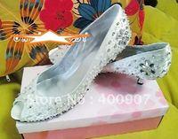 Beautiful rhinestone satin peep toe low heel bridal wedding shoes