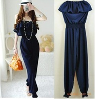 2012 Flounce Navy Blue Jumpsuit Women's Wear Fashion Sexy Tube Jump suit Jumpsuit Romantic stylish Chic  free shipping
