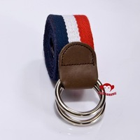 Newest Silver double  loop buckle canvas belt women casual belt dual colors factory directly supply mixed order