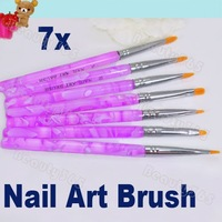7pcs Flat UV Gel Acrylic Nail Brush Set Art Builder Painting  Pen Design Dropshipping 1496