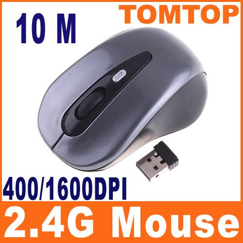 Black-Gray 2.4GHz Wireless Optical Mouse 400/1600DPI C1098 Free Shipping Wholesale(China (Mainland))