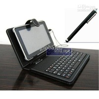 """Wholesale - Black Leather Case USB Keyboard +Stylus for 7"""" Archos 7 70 70B IT Tablet"""
