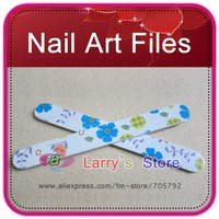 Free Shipping 100 Pcs/Lot Pro Nail Art File Buffing Sandpaper Slim Blue Flower Buffer Tool High Quality Fancy Manicure Wholesale