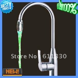 DHL Free Charge to Most Countries!Color Changing Kitchen water detectable faucet light LED tap water saving led aerator system(China (Mainland))