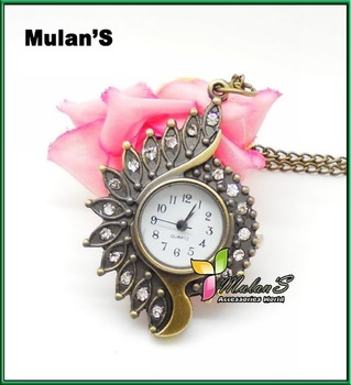 10pcs/lot, Mulan'S New Arrival stainless stell watch,bronze-coloured cartoon Pocket watch- peacock with Chain,Free Shipping