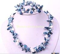 Hot Fashion Jewellery set Beautiful  blue pearl wedding Necklace bracelet Set free shipping