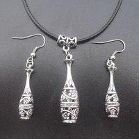 Newest Hollow Flowers Bottle Pendants Tibetan Silver Leather Cord Necklace Earrings Set Vintage Fashion Freeshipping 1set/lot