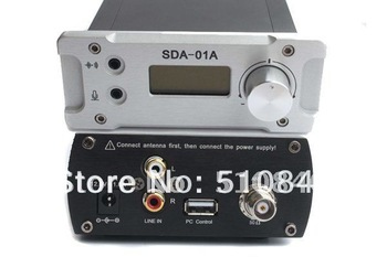 Free shipping New Black&Silver SDA-01A 0~1W FM PLL Radio Broadcast Transmitter PCcontrol 76~108MHZ