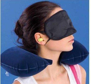 3 in1 Travel Set Inflatable Neck Air Cushion Pillow + eye mask + 2 Ear Plug amenity kit 0257